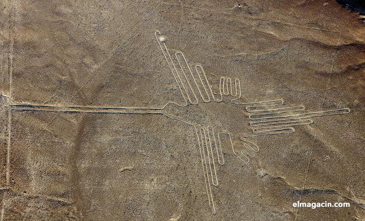 Dibujo de un colibrí en Nazca. El Magacín.