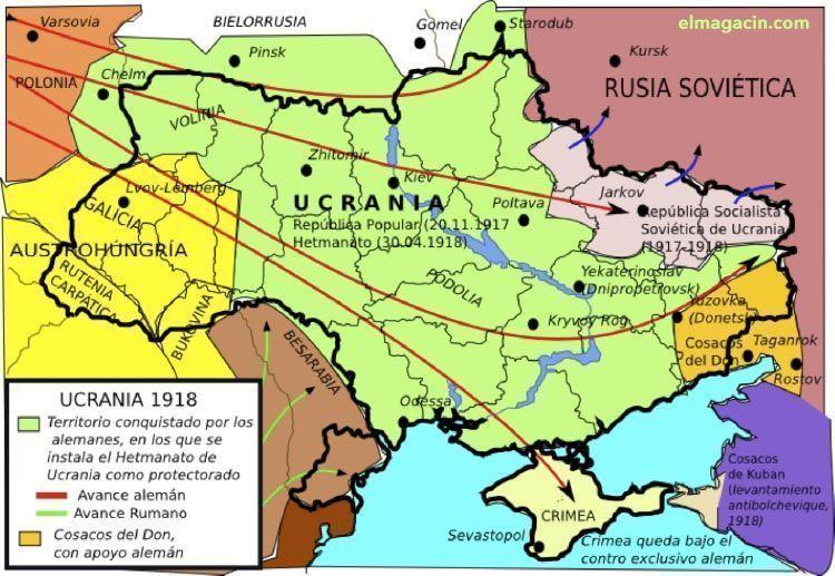 Mapa de Ucrania en la Primera Guerra Mundial. El Magacín.