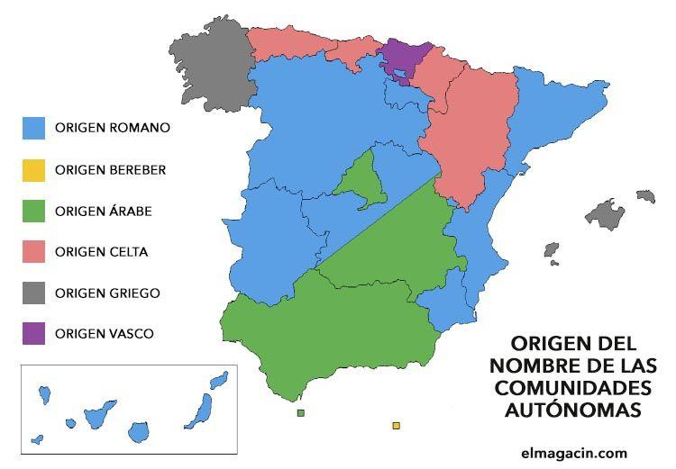 Origen del nombre de las comunidades autónomas españolas. El Magacín.