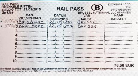 Billete de tren de Bruselas a Brujas. El Magacín.
