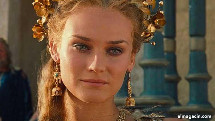 Diane Kruger caracterizada como Helena de Troya. Mujer bella de Alemania. Mujeres guapas.