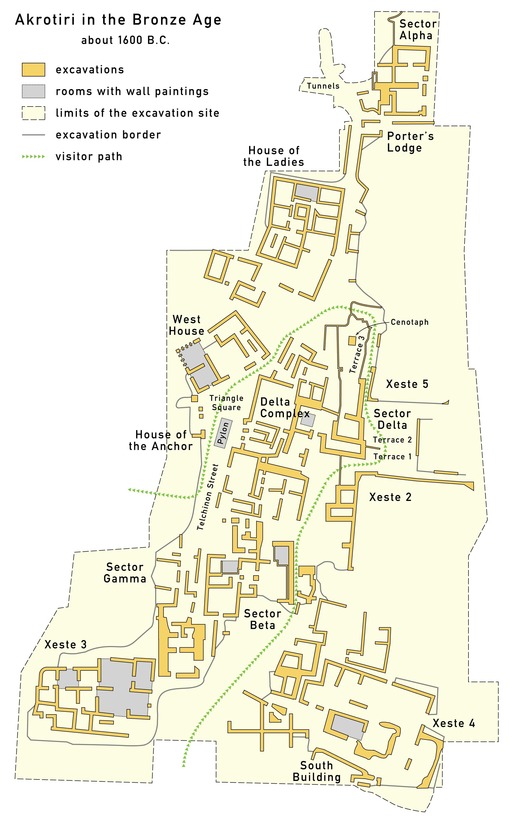 Mapa del yacimiento de Akrotiri