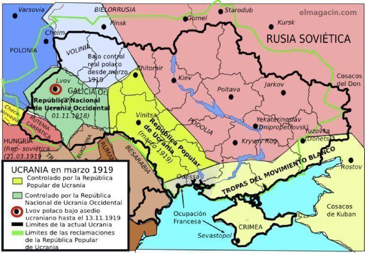 Mapa de Ucrania en Marzo de 1919. El Magacín