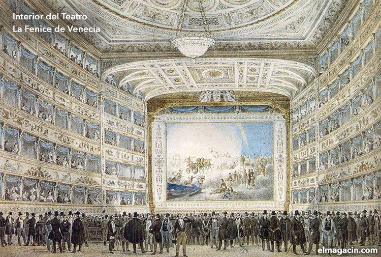 Interior de la Fenice en 1854. El Magacín.