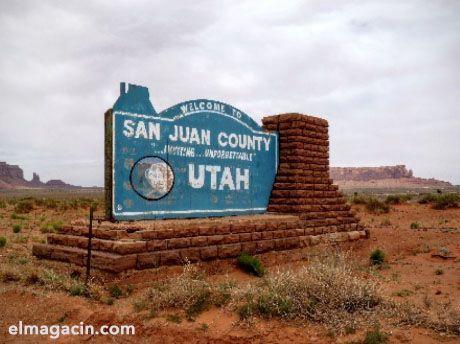 Cartel de llegada a Utah. El Magacín.