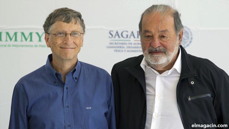 El hombre más rico de México, Carlos Slim (derecha) junto a Bill Gates