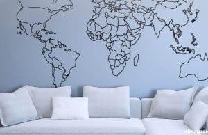 Vinilo personalizado con mapa mundi