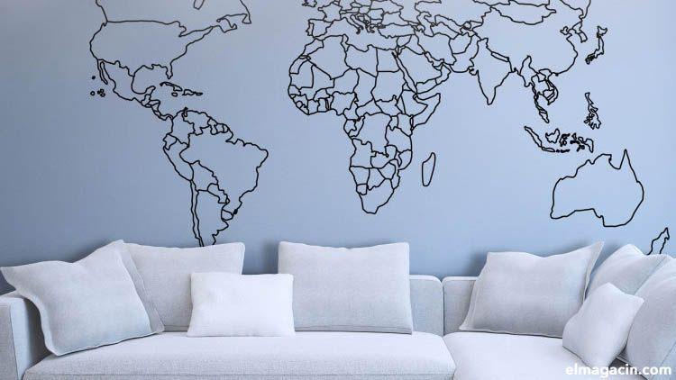 Cómo poner papel pintado infantil de dormitorio. Mapa del mundo