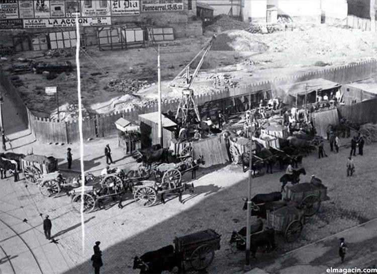 Construcción del Metro de Madrid con coches de caballos (1917)