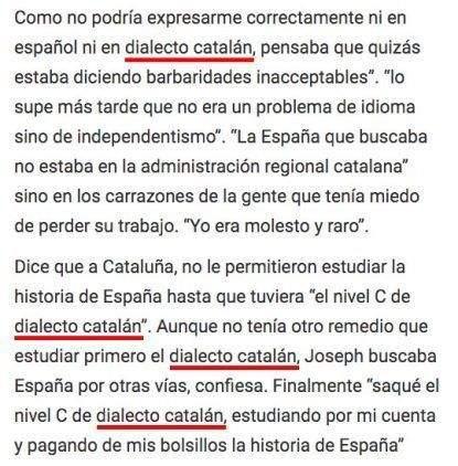 Texto donde Joseph Azanméné Ngabgué, autor de Las Voces del Pueblo afirma que el catalán es un dialecto