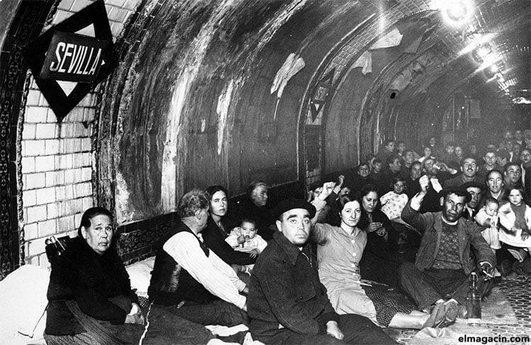 La estación de Sevilla durante los bombardeos de la Guerra Civil Española