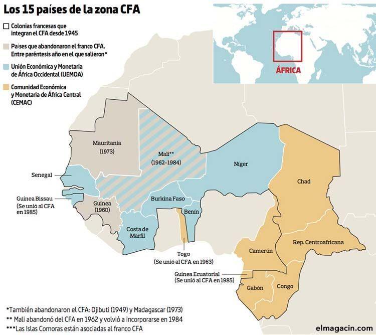 Desaparece el franco CFA de toda África Franco-cfa-mapa-de-paises-de-africa-donde-es-moneda-de-curso-legal.el-magacin