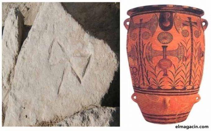 La diosa del hacha doble en el arte cretomicénico.