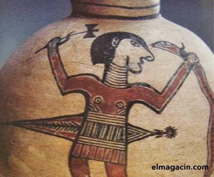 650 a.C., isla de Chipre. Sólo al final del período de influencia cretense, es decir, casi en tiempos clásicos, se verá a algunos dioses masculinos dominar el hacha doble. También se los ve como vencedores de la serpiente que vive en o con la mujer.