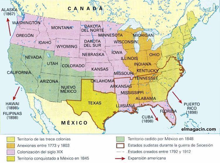 Mapa de la expansión de Estados Unidos. El Magacín.