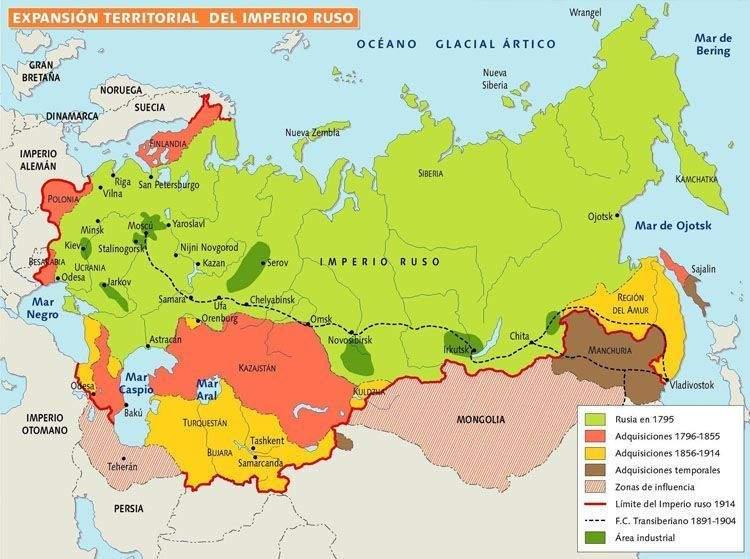 Máxima expansión del imperio ruso