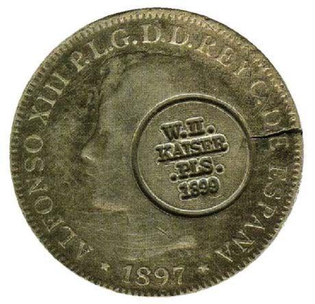 Moneda de Alfonso XIII con sello. El Magacín.