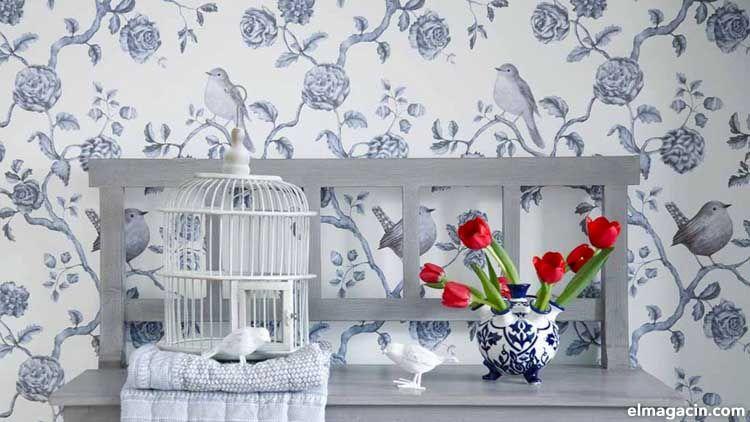 Papel pintado de tendencia con aves