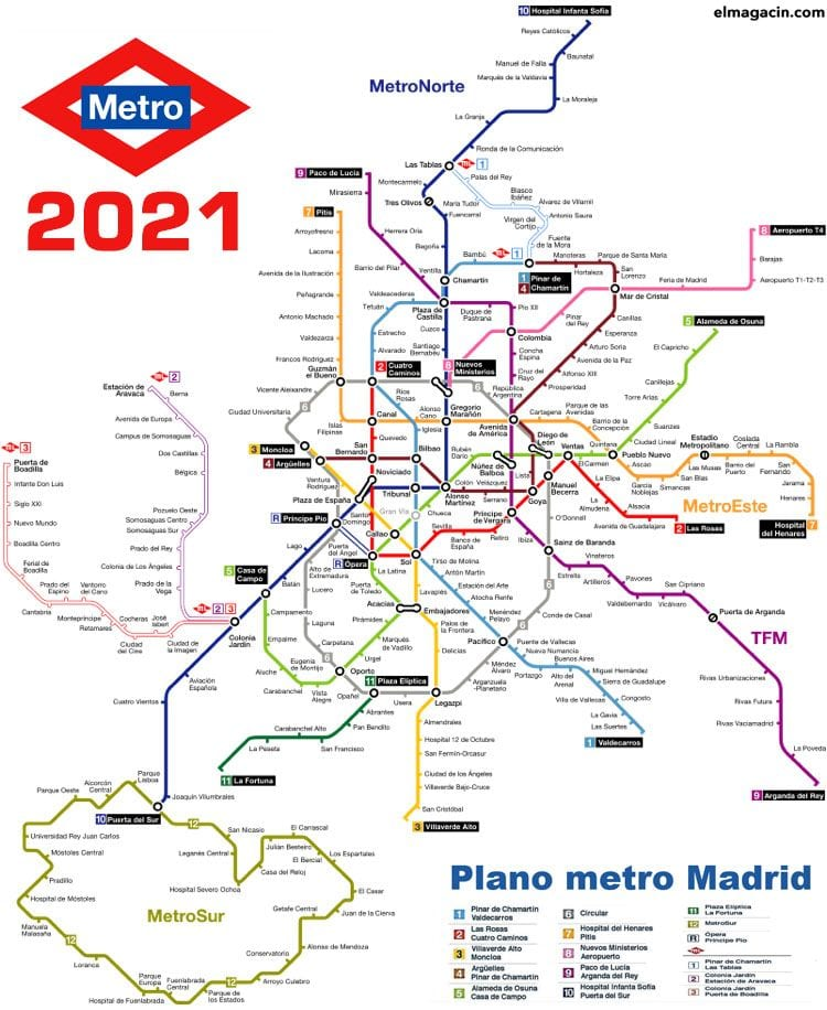 Plano de Metro de Madrid actual en 2021, con sus 300 km de longitud sin contar con el Metro Ligero