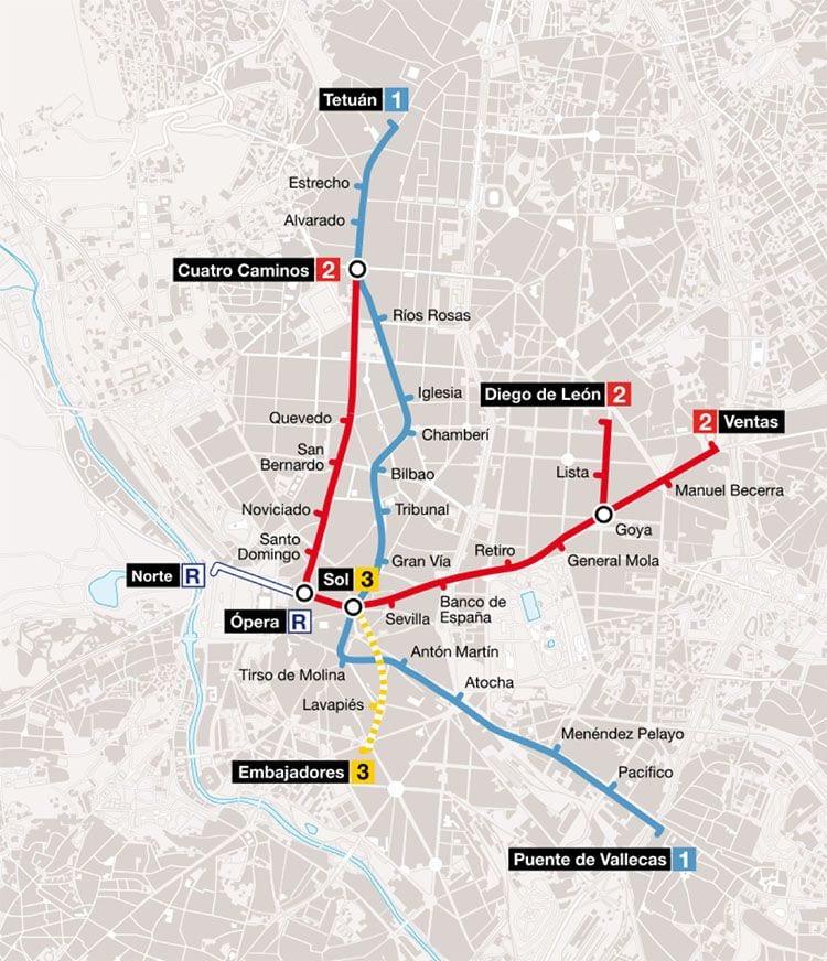 Mapa del Metro durante la Guerra Civil. Se construyó el comienzo de la línea 3
