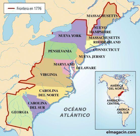 Las trece colonias originales norteamericanas. El Magacín.